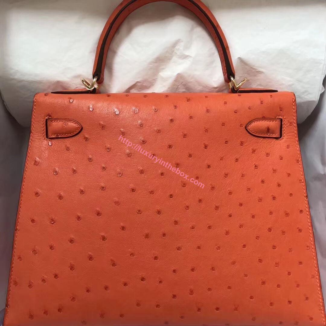 Picture of Hermes Kelly 28cm Ostrich Leather Tote Bag Orange Gold