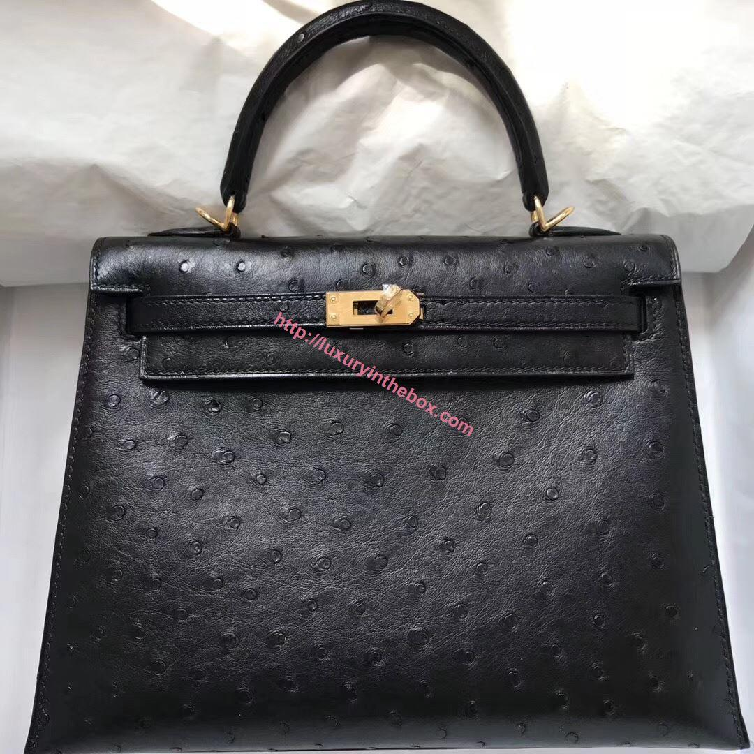 Picture of Hermes Kelly 25cm Ostrich Leather Tote Bag Black Gold