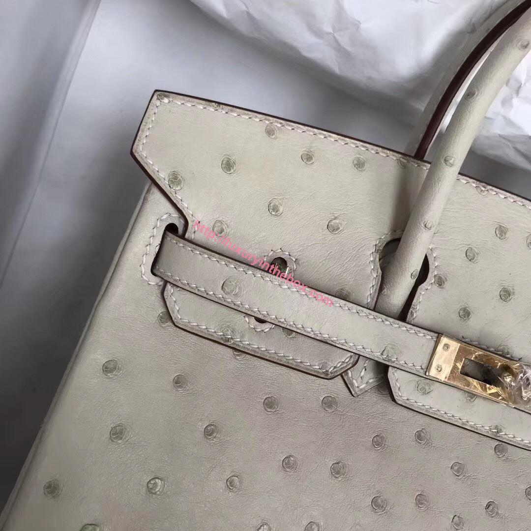 Picture of Hermes Kelly 25cm Ostrich Leather Tote Bag Milk White Gold