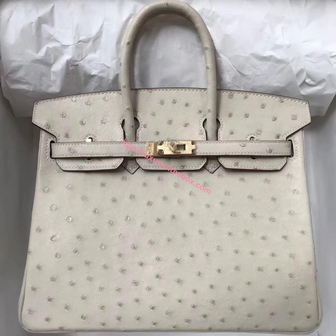 Picture of Hermes  25cm Ostrich Leather Tote Bag Sheep White Gold