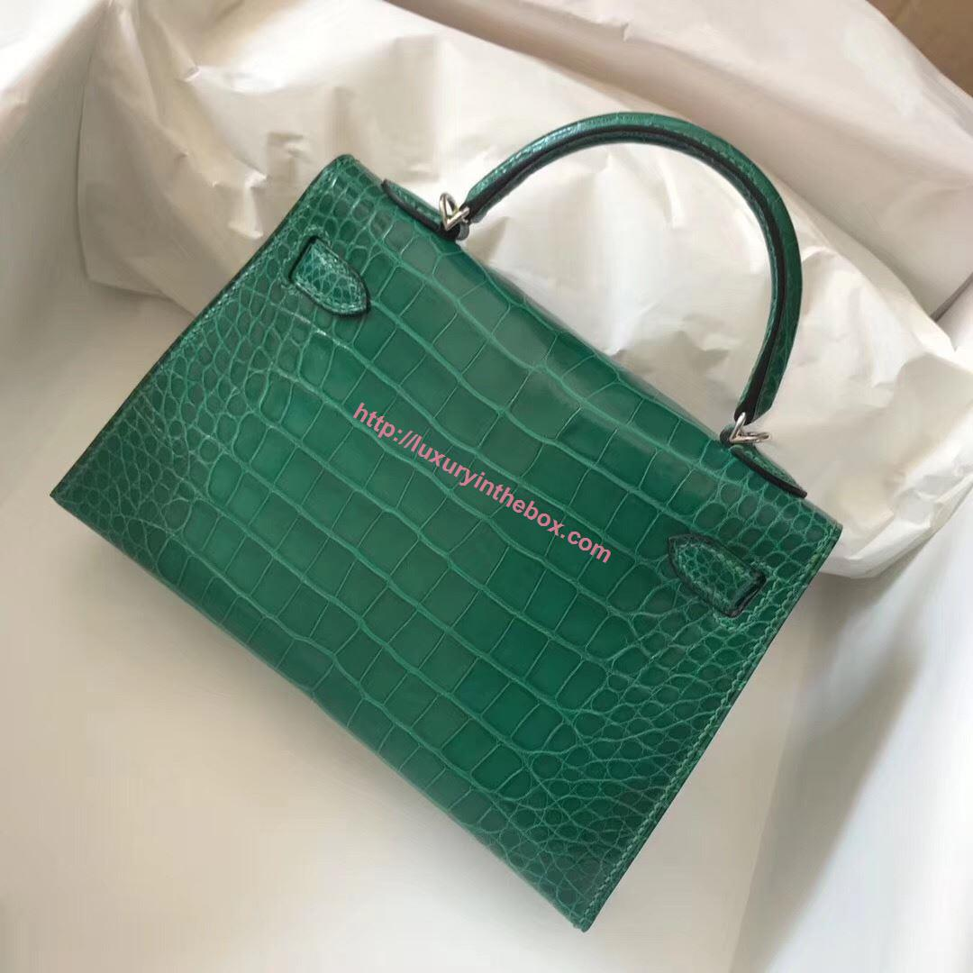 Picture of Hermes Mini Kelly Crocodile leather Clutch Bag Green Silver (Gold)