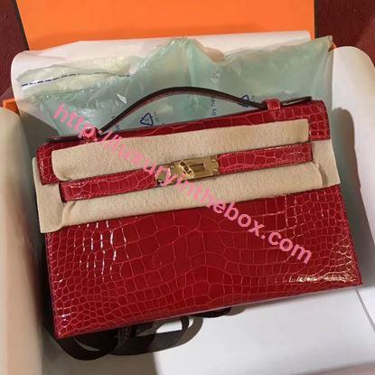 Picture of Hermes Mini Kelly Crocodile leather Clutch Bag F Red Gold