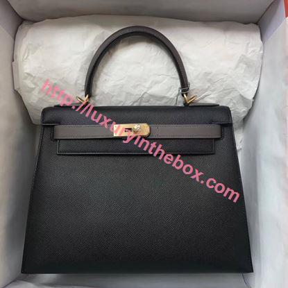 Picture of Hermes Kelly 28cm Epsom Leather Tote Bag Black with Grey Gold