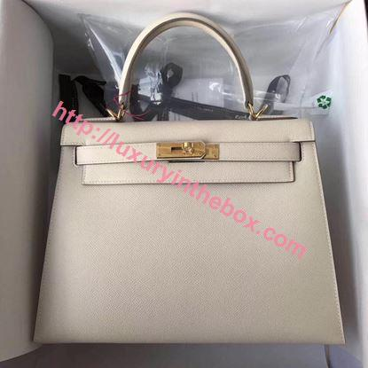 Picture of Hermes Kelly 28cm Epsom Leather Tote Bag White Gold