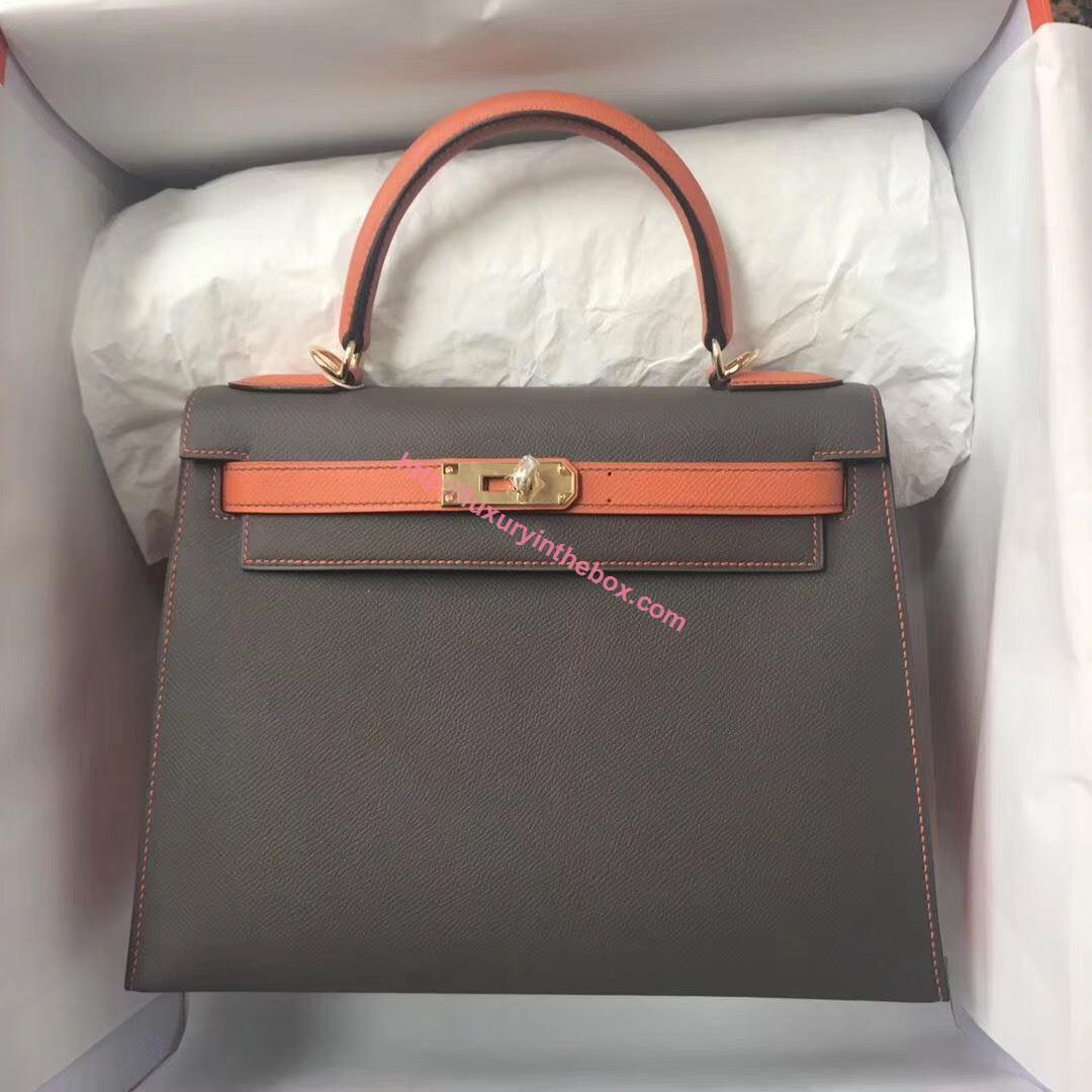 Picture of Hermes Kelly 28cm Epsom Leather Tote Bag Grey with Orange Handles Gold