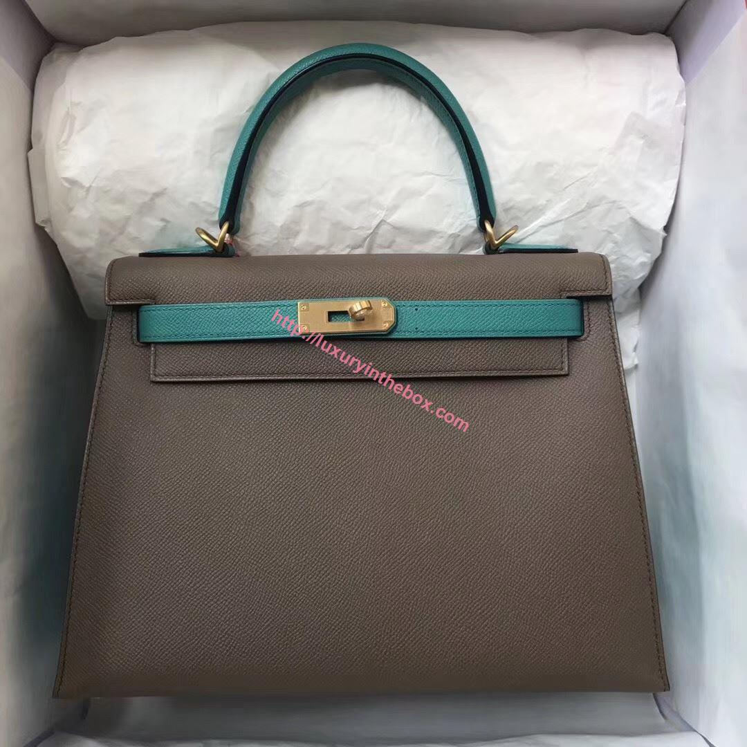 Picture of Hermes Kelly 28cm Epsom Leather Tote Bag Grey with Blue Handles Gold