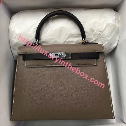 Picture of Hermes Kelly 28cm Epsom Leather Tote Bag Grey with Blue Handles Silver