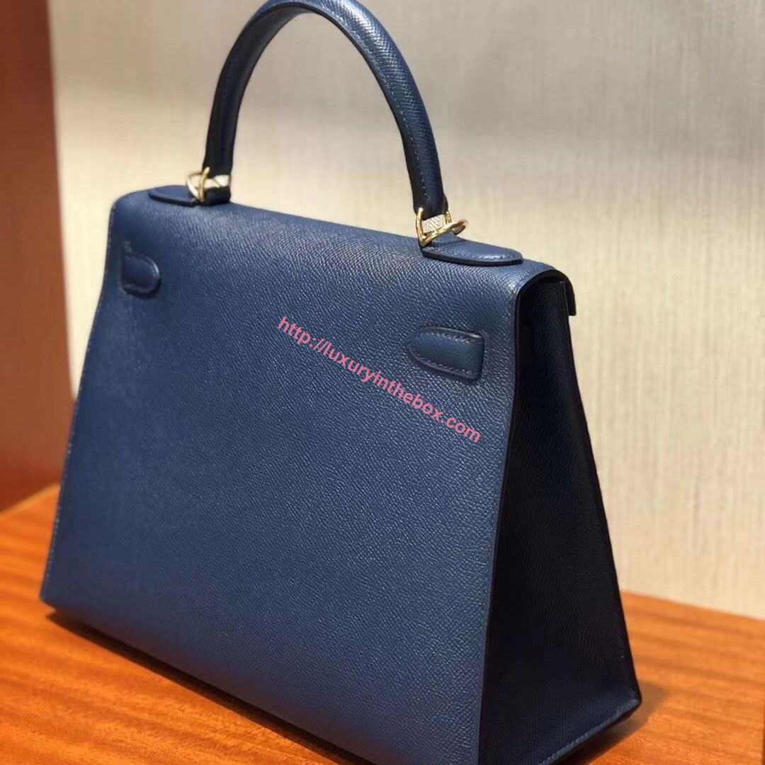 Picture of Hermes Kelly 28cm Epsom Leather Tote Bag Deep Blue Gold