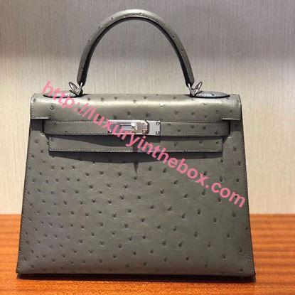 Picture of Hermes Kelly 28cm Ostrich Leather Tote Bag Grey Silver