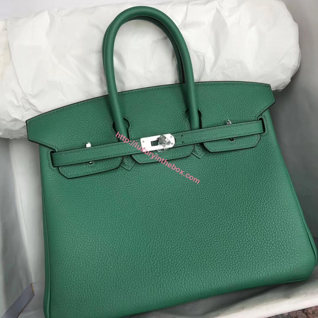 Picture of Hermes 30cm Togo Leather Green with Silver