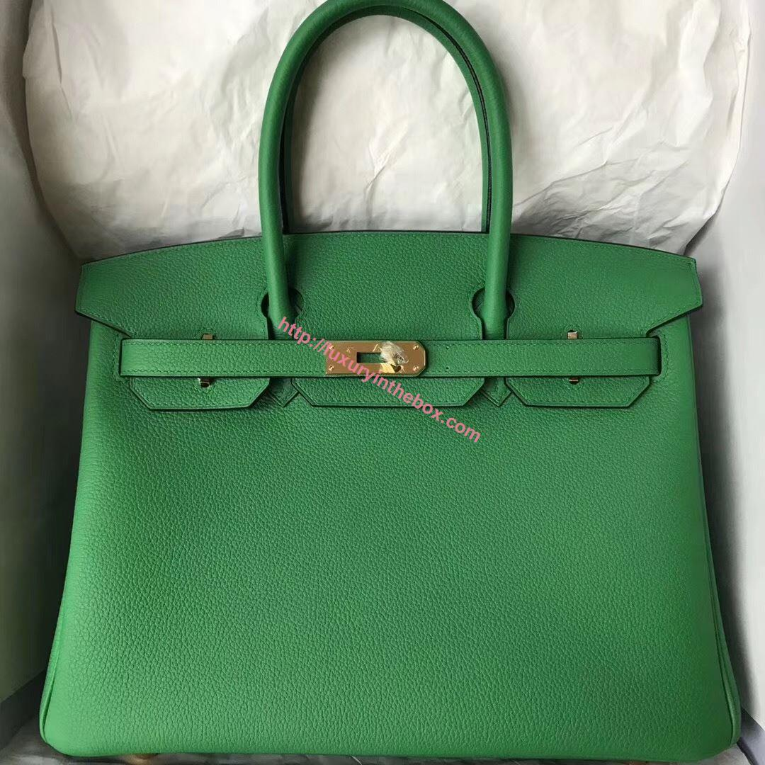Picture of Hermes 30cm Togo Leather Turquoise Green with Gold