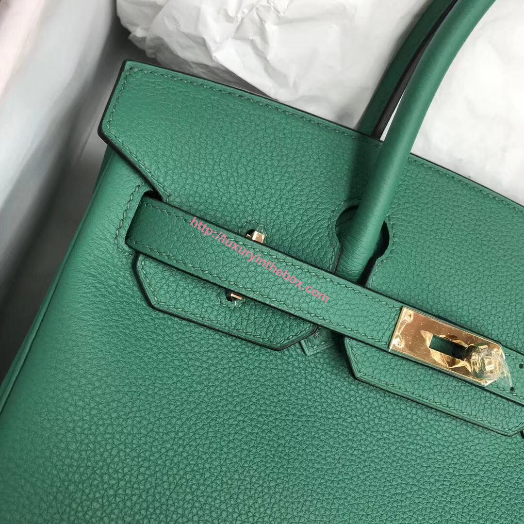 Picture of Hermes 30cm Togo Leather  Green with Gold