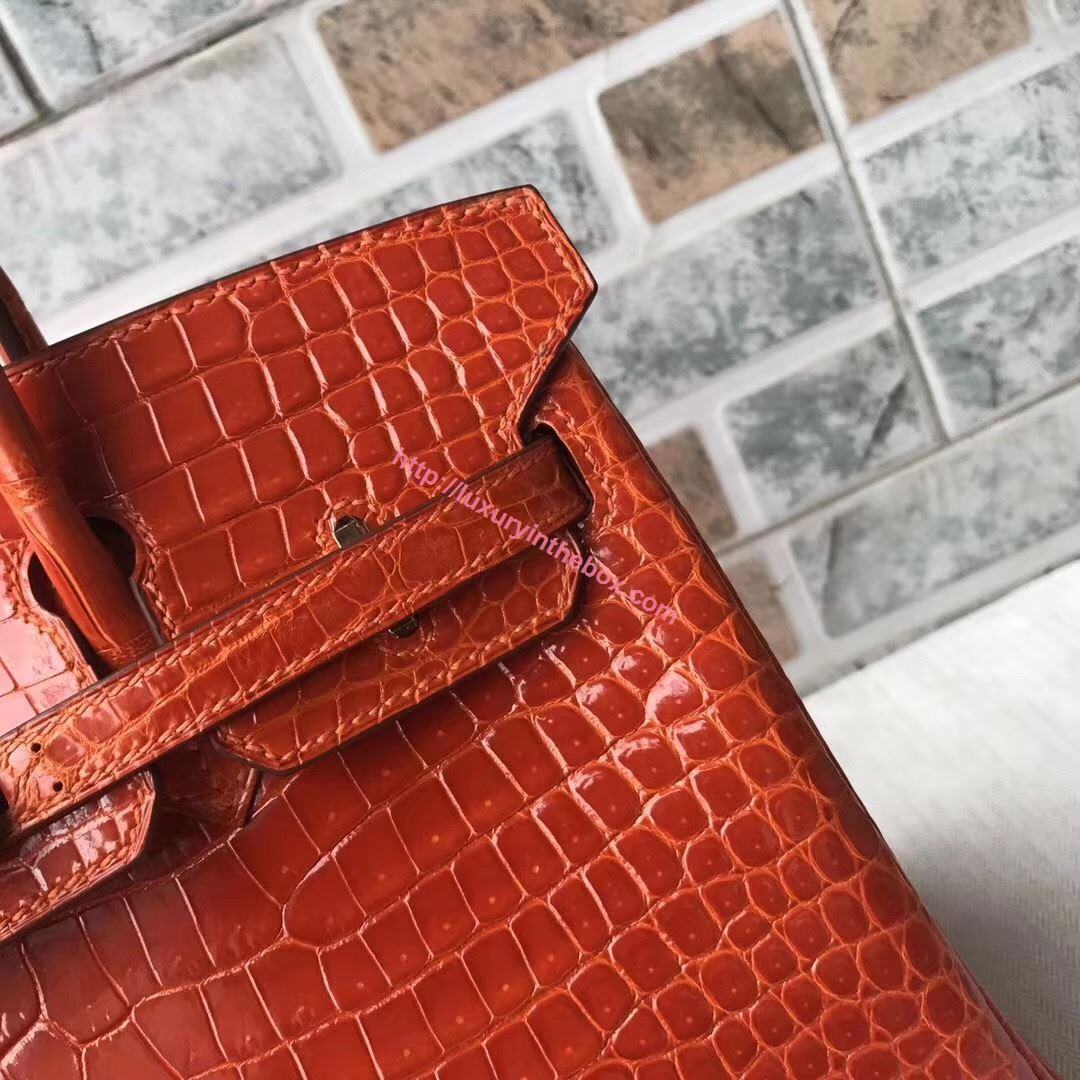Picture of Hermes 25cm Crocodile Leather Orange with Gold