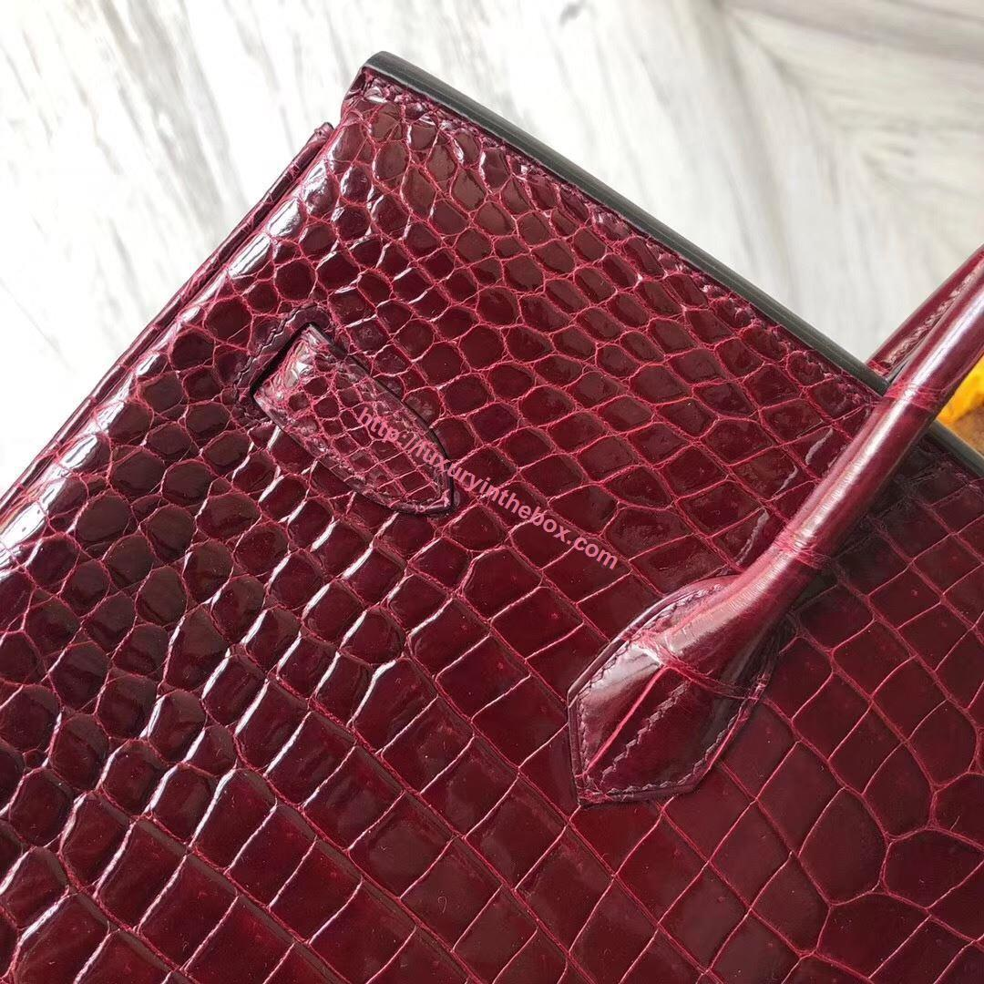 Picture of Hermes 35cm Crocodile Leather Wine Red with Silver