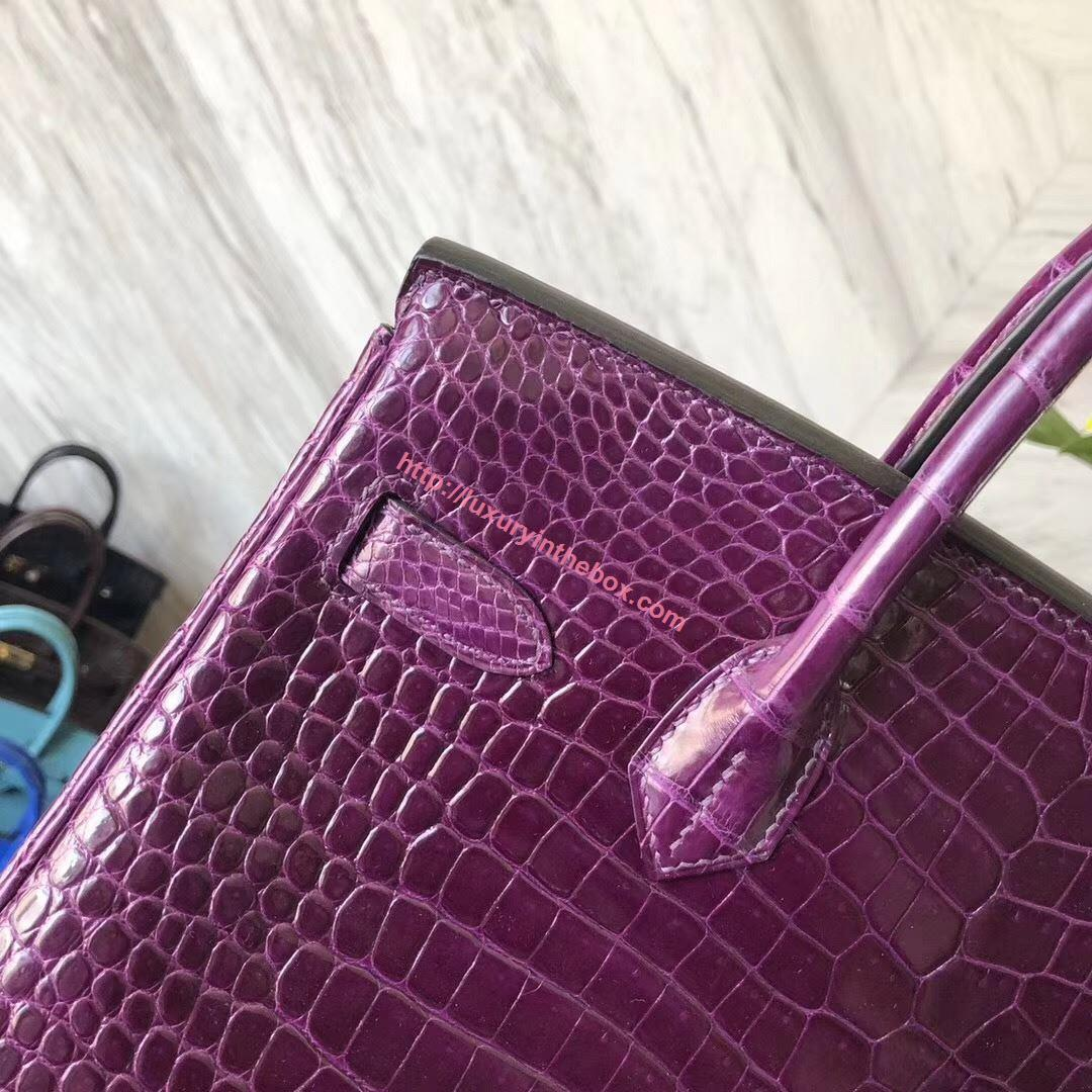 Picture of Hermes 30cm Crocodile Leather Crystal Purple Gold