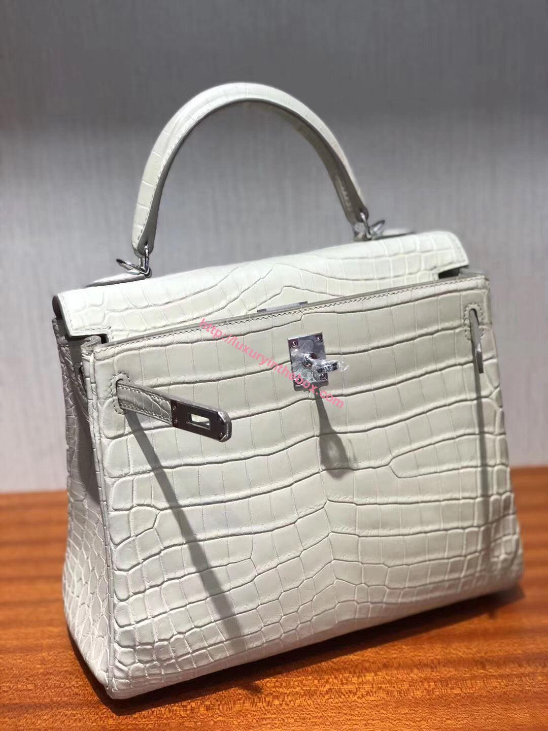 Picture of Hermes Kelly 25cm  Matte Crocodile leather Tote Bag Milk White  Silver