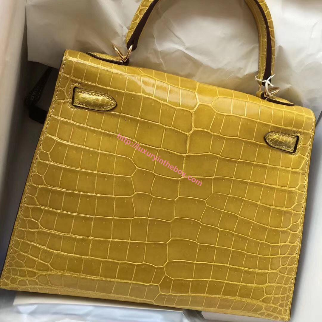 Picture of Hermes Kelly 28cm Crocodile leather Tote Bag Ambel Yellow Gold