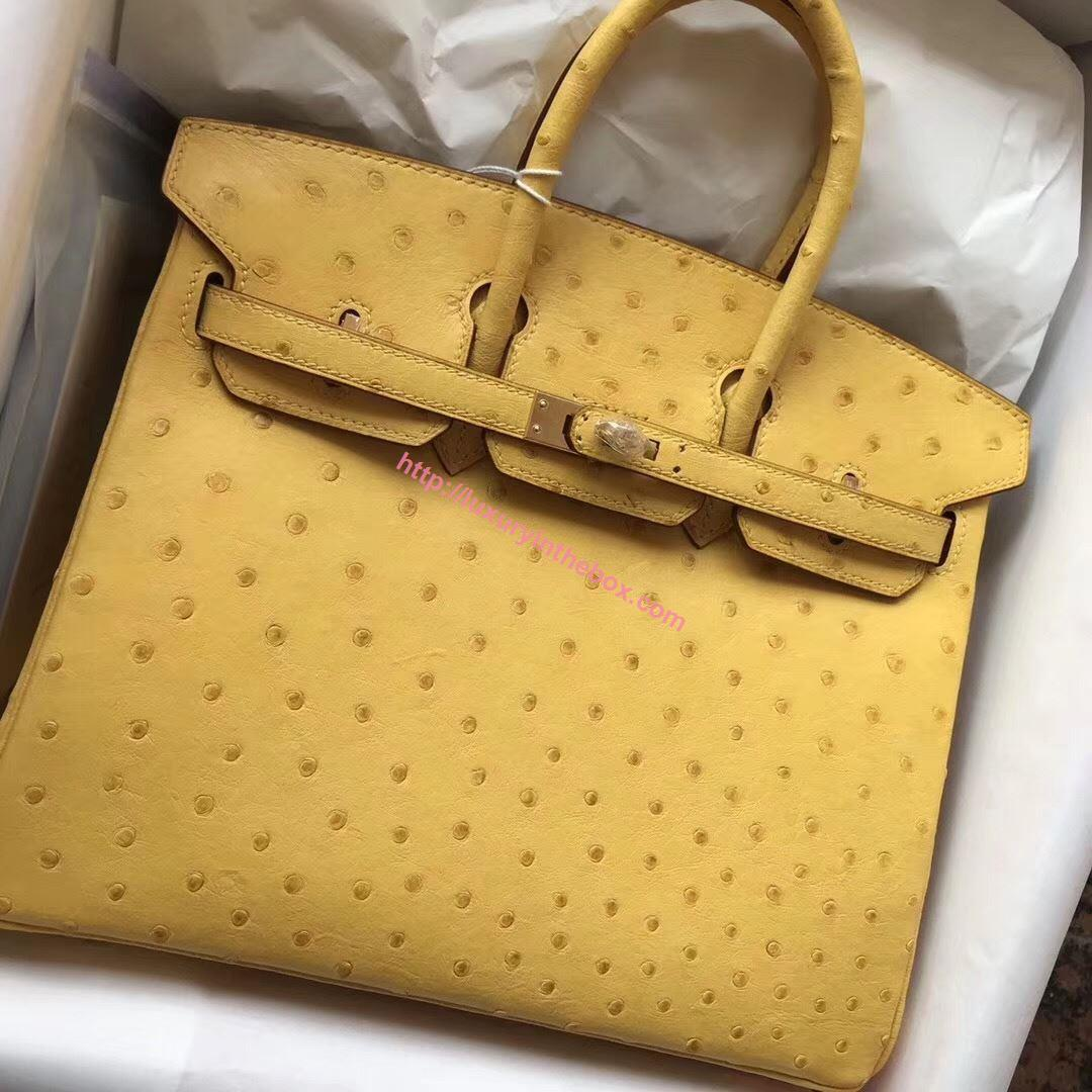 Picture of Hermes 30cm Ostrich Leather Tote Bag Ambel Yellow Gold