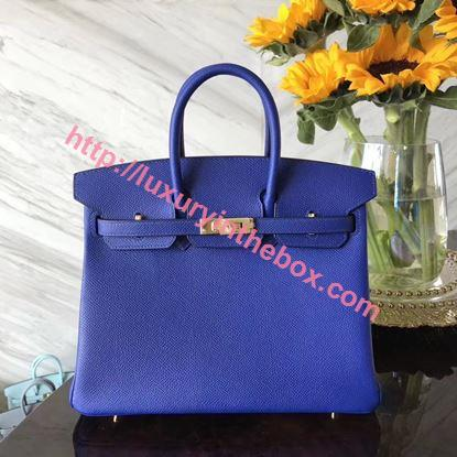 Picture of Hermes 25cm Epsom Leather Electric Blue with Gold