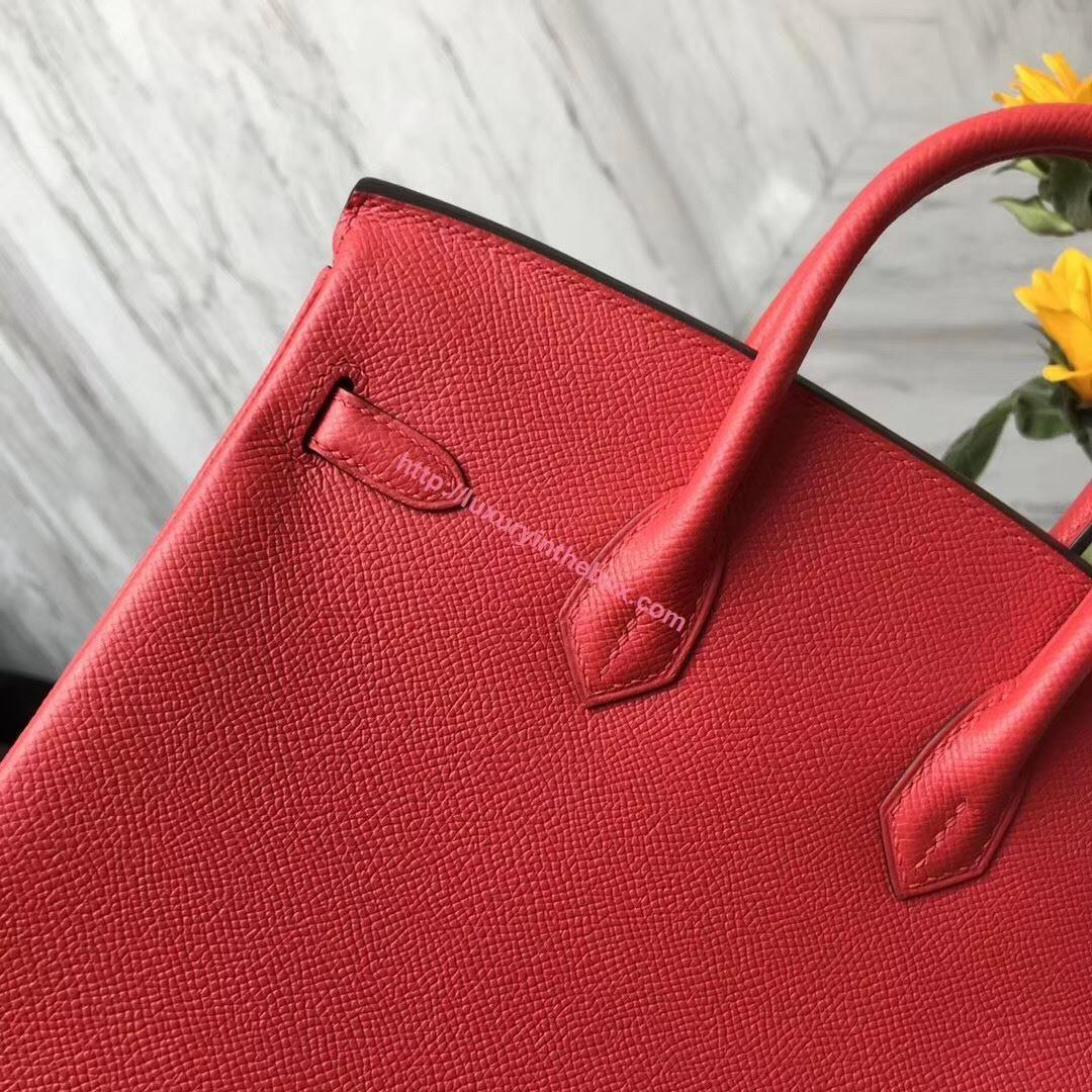 Picture of Hermes 25cm Epsom Leather Tomato Red with Gold