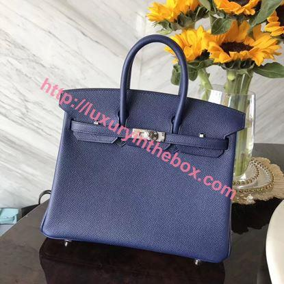Picture of Hermes 25cm Epsom Leather Midnight with Silver