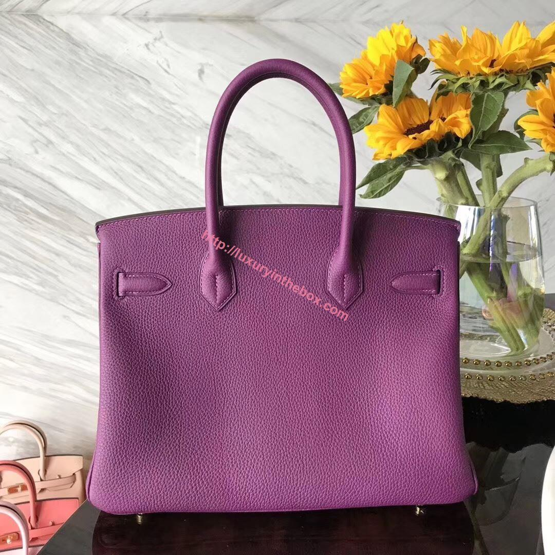 Picture of Hermes 25cm Epsom Leather Purple with Gold