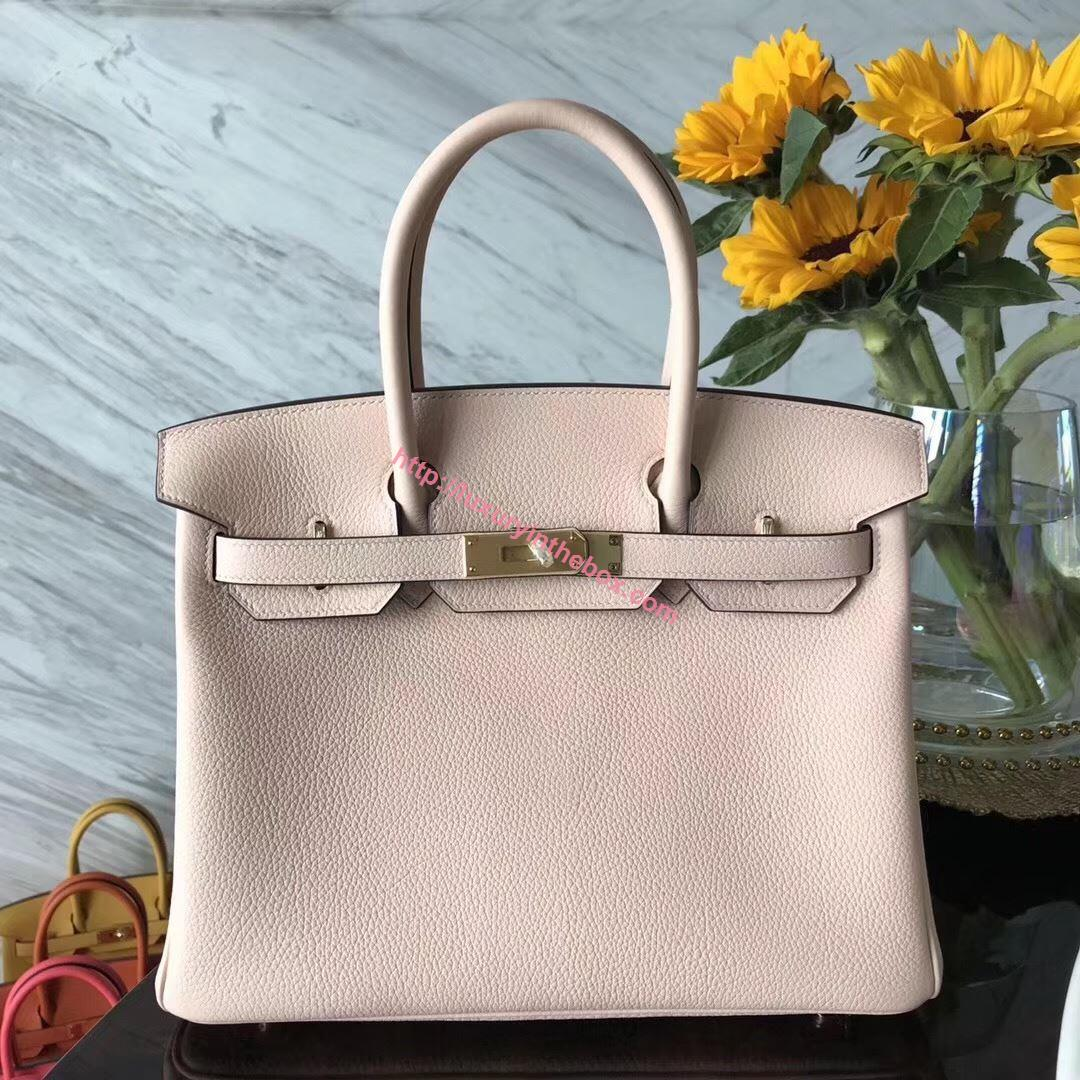 Picture of Hermes 30cm Togo Leather Light Pink with Gold