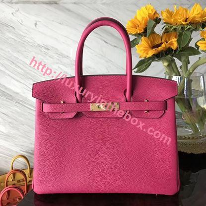 Picture of Hermes 30cm Togo Leather Rose Violet with Gold