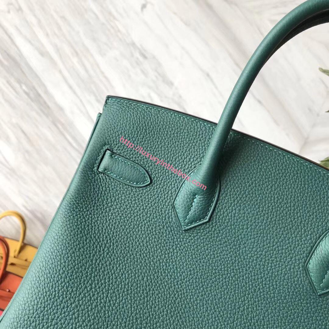 Picture of Hermes 30cm Togo Leather Turquoise blue with Gold