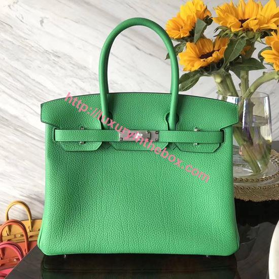 Picture of Hermes 30cm Togo Leather Bamboo Green with Silver