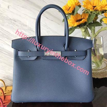 Picture of Hermes 30cm Togo Leather Ocean Blue with Silver