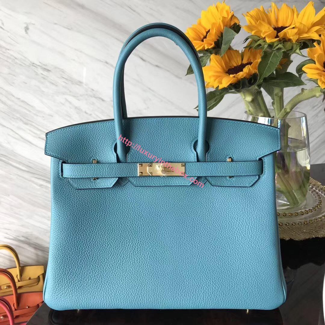 Picture of Hermes 30cm Togo Leather  Sky Blue with Gold