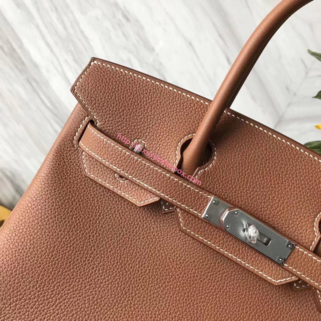Picture of Hermes 30cm Togo Leather Brown with Silver