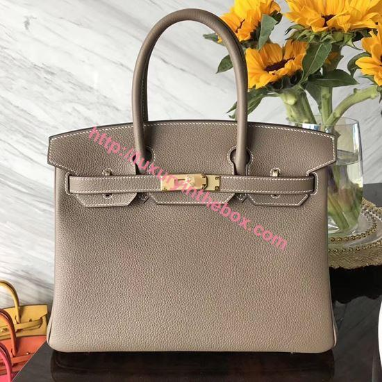 Picture of Hermes 30cm Togo Leather  Khaki Grey with Gold