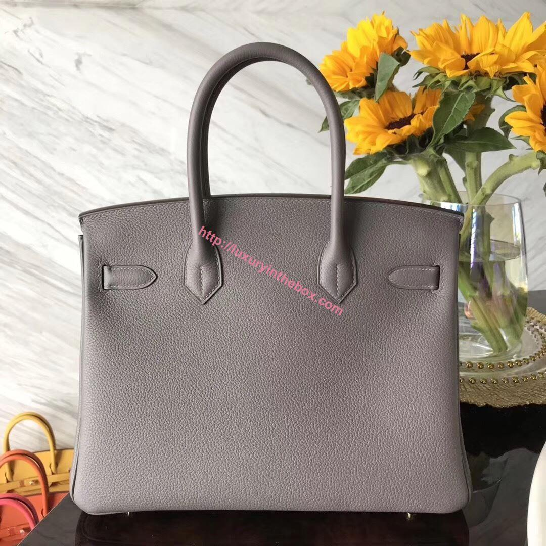 Picture of Hermes 30cm Togo Leather  Iron Grey with Gold