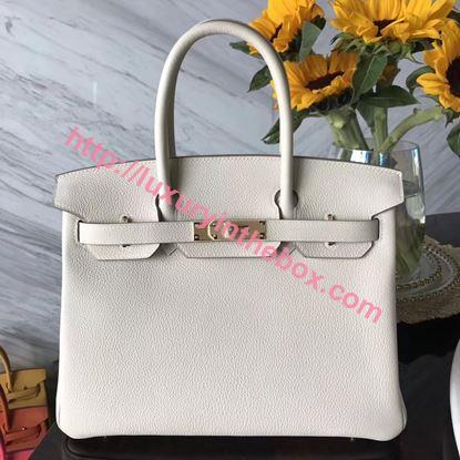Picture of Hermes 30cm Togo Leather White with Gold