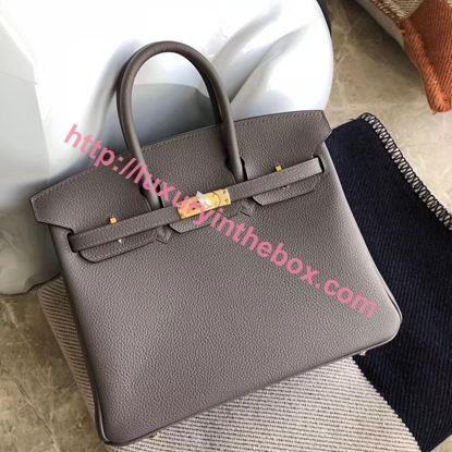 Picture of Hermes 25cm Togo Leather Iron Grey with Gold