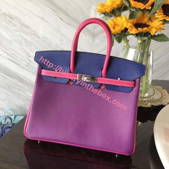 Picture of Hermes 25cm Togo Leather Purple & Blue (Pink Handles) with Silver