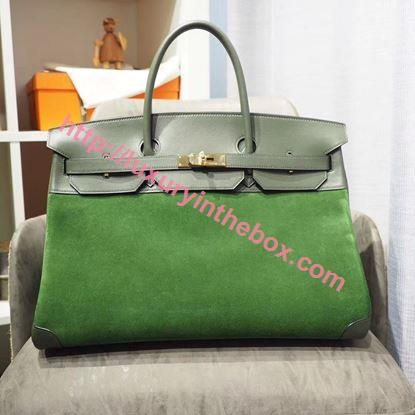 Picture of Hermes 40cm Swift&Buckskin Leather Green with Gold