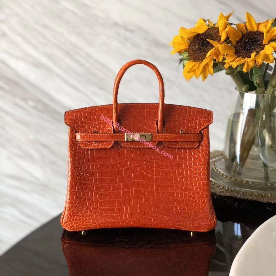 Picture of Hermes 30cm Crocodile Leather F Red with Gold