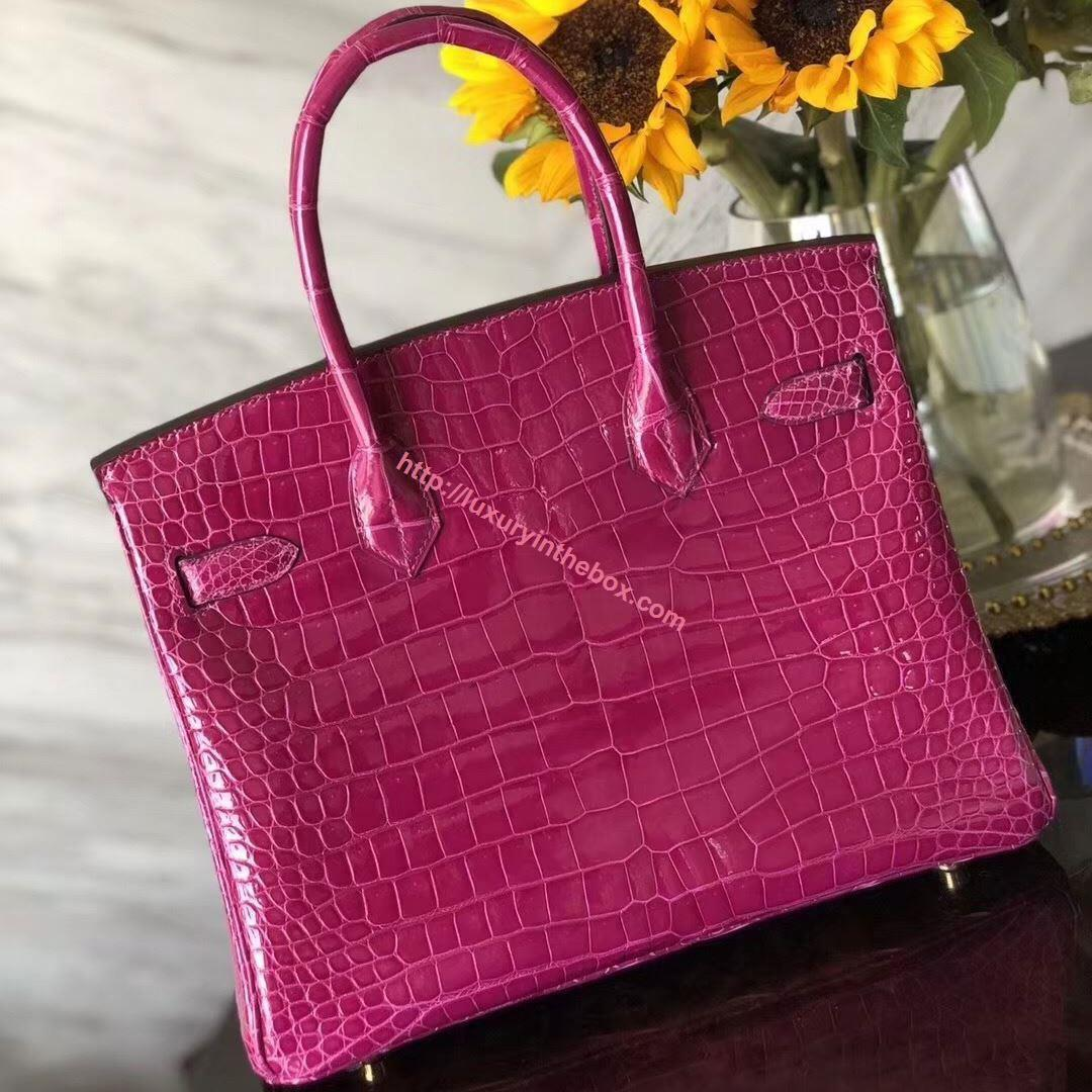 Picture of Hermes 30cm Crocodile Leather Violet with Gold