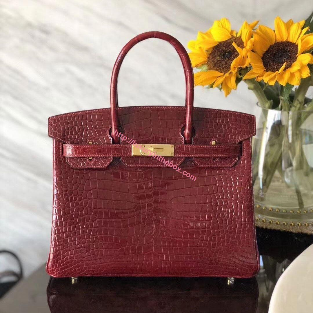 Picture of Hermes 30cm Crocodile Leather Wine Red with Gold