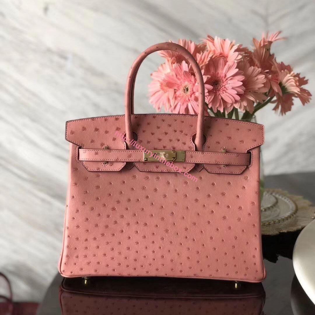 Picture of Hermes 30cm Ostrich Leather Tote Bag Pink  Gold