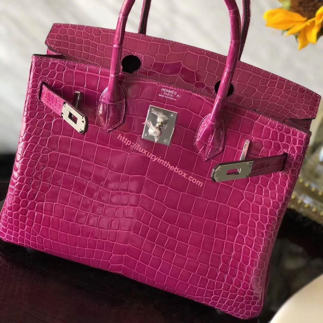 Picture of Hermes 30cm Crocodile Leather Violet with Silver