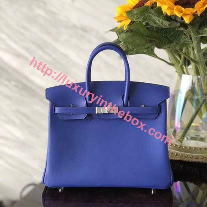 Picture of Hermes 25cm Swift Leather Electric Blue with Silver