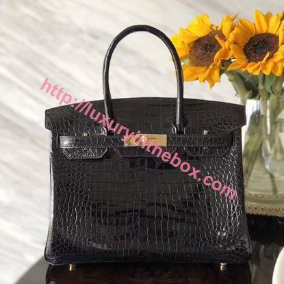Picture of Hermes 30cm Crocodile Leather Black with Gold