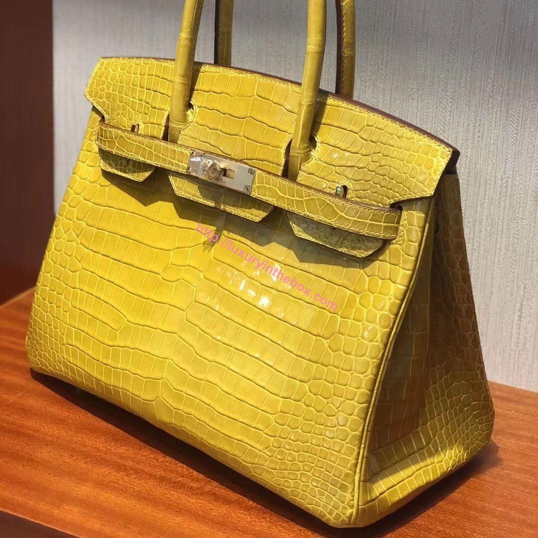 Picture of Hermes 30cm Crocodile Leather Ambel Yellow with Gold