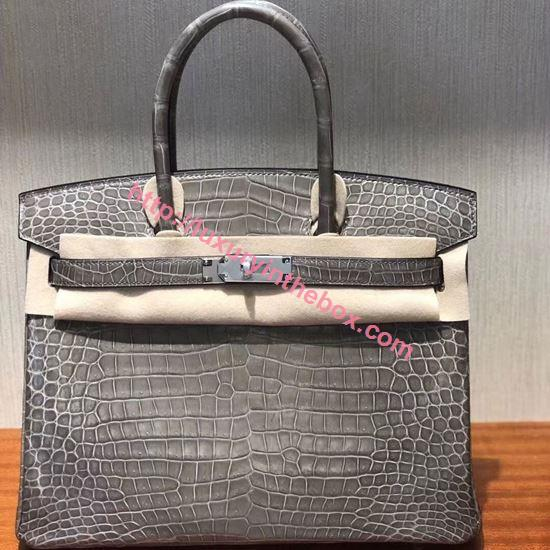 Picture of Hermes 30cm Crocodile Leather Grey&Black with Silver