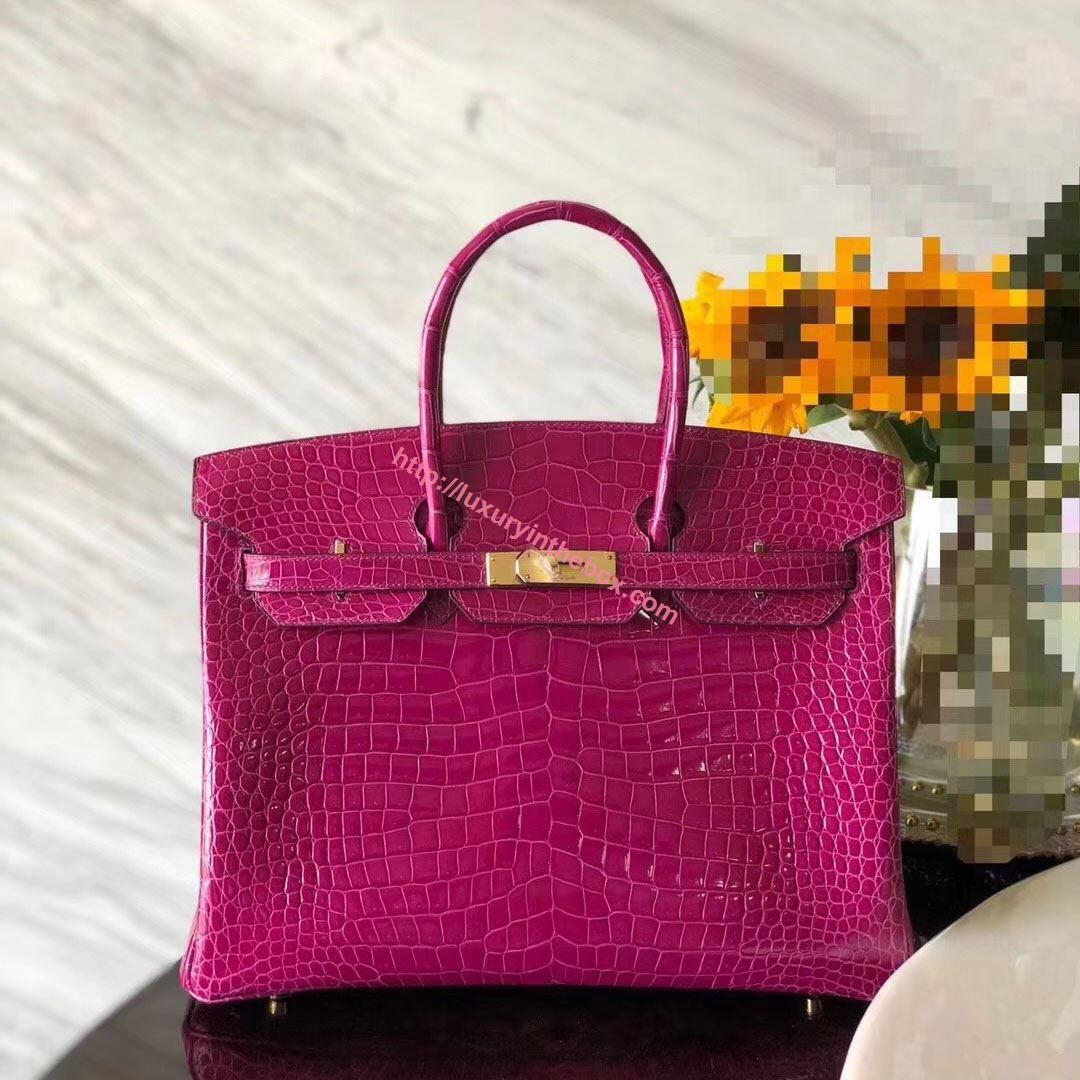 Picture of Hermes 35cm Crocodile Leather Violet with Gold