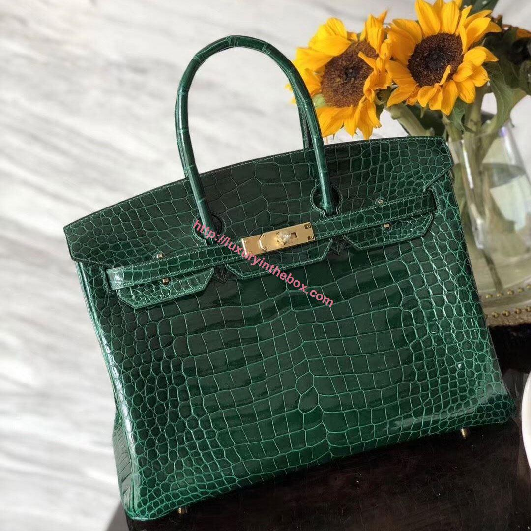 Picture of Hermes 35cm Crocodile Leather Emerald with Gold